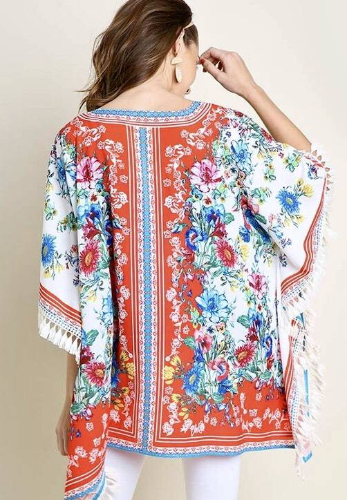 White and Red Floral Kimono with Tassel Detail