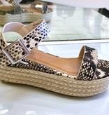Beige Snake Espadrille Platform Sandal
