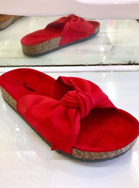 Berkley Red Bow Accent Slip On Sandal