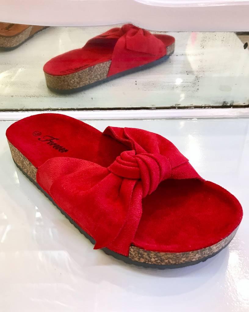 Berkley Red Bow Accent Slip On Sandal