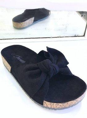 Berkley Black Bow Accent Slip On Sandal