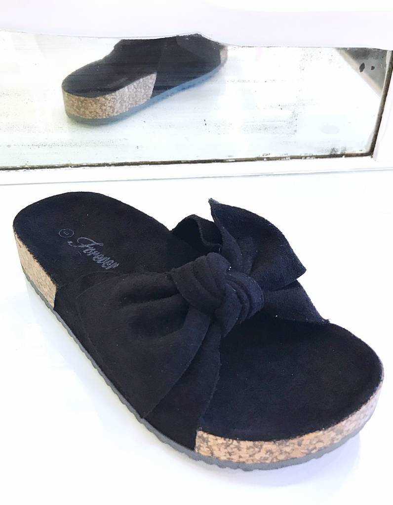 Berkley Black Bow Accent Slip On Sandal