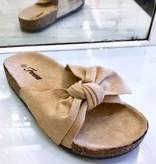 Berkley Beige Bow Accent Slip On Sandal