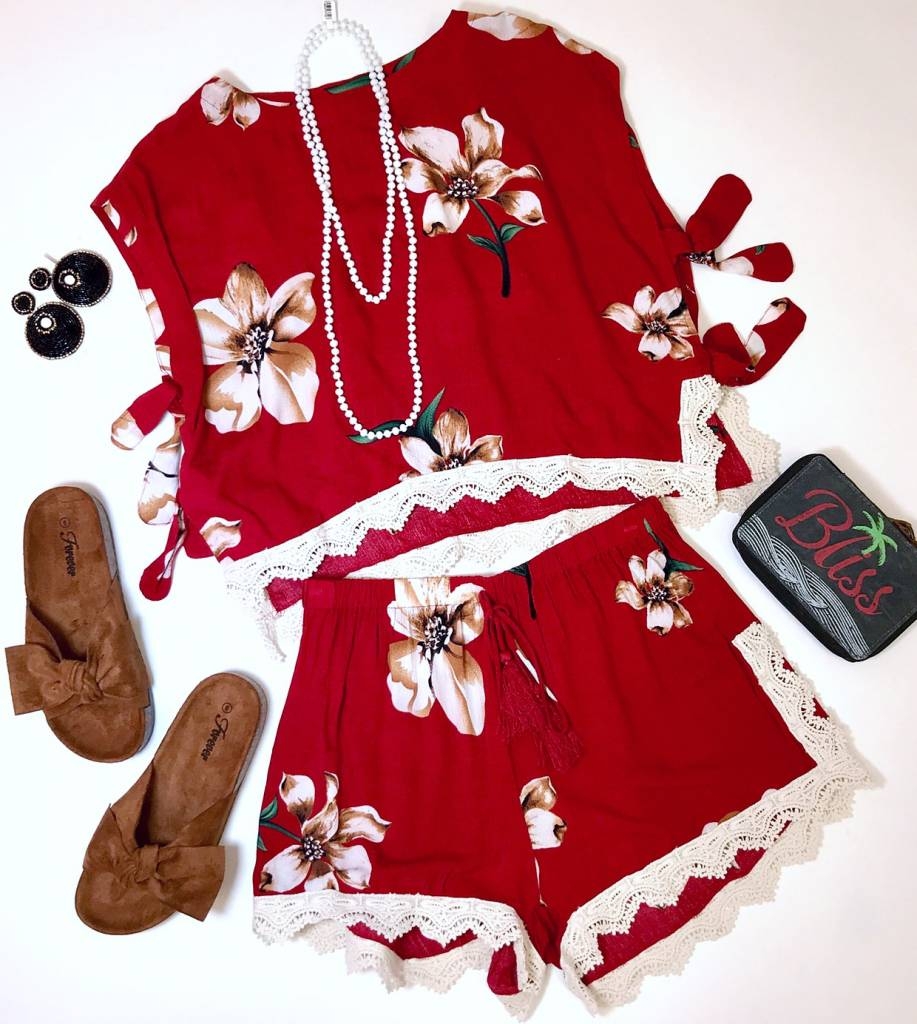 Red Floral Two Piece Set Top