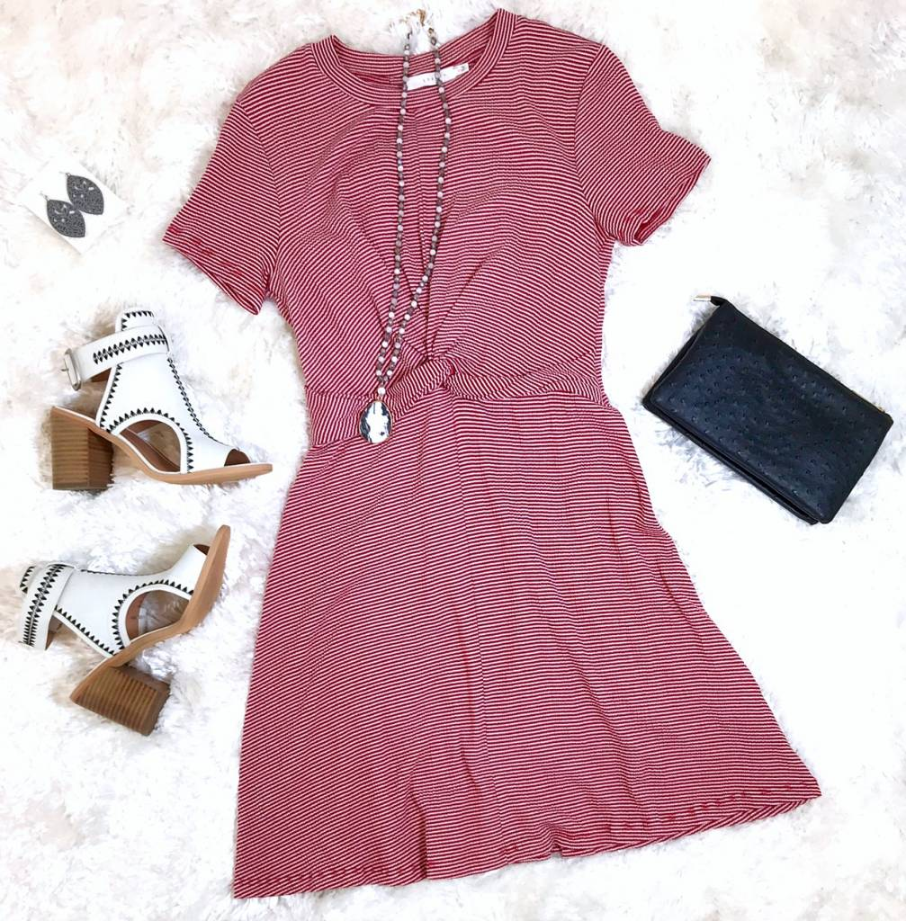 Red/White Striped Front Tie Dress