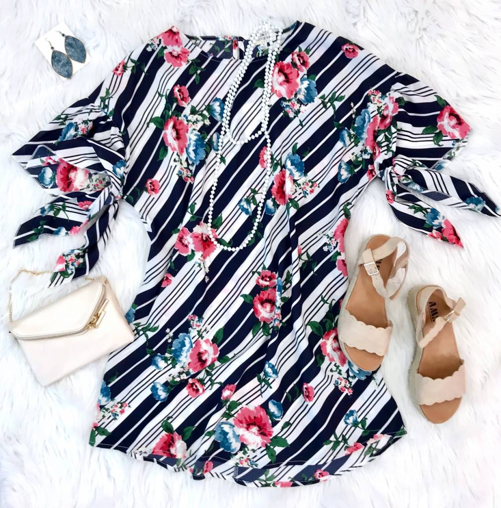 Navy floral/Striped Mixed Dress