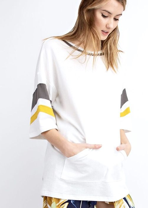 Off White Flowy Top with Mustard/Olive Stripe