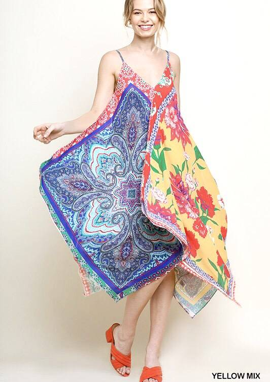 Mixed Print Scarf Spaghetti Strap Dress