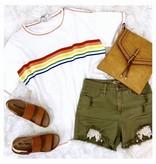 Off White Bright Striped Top