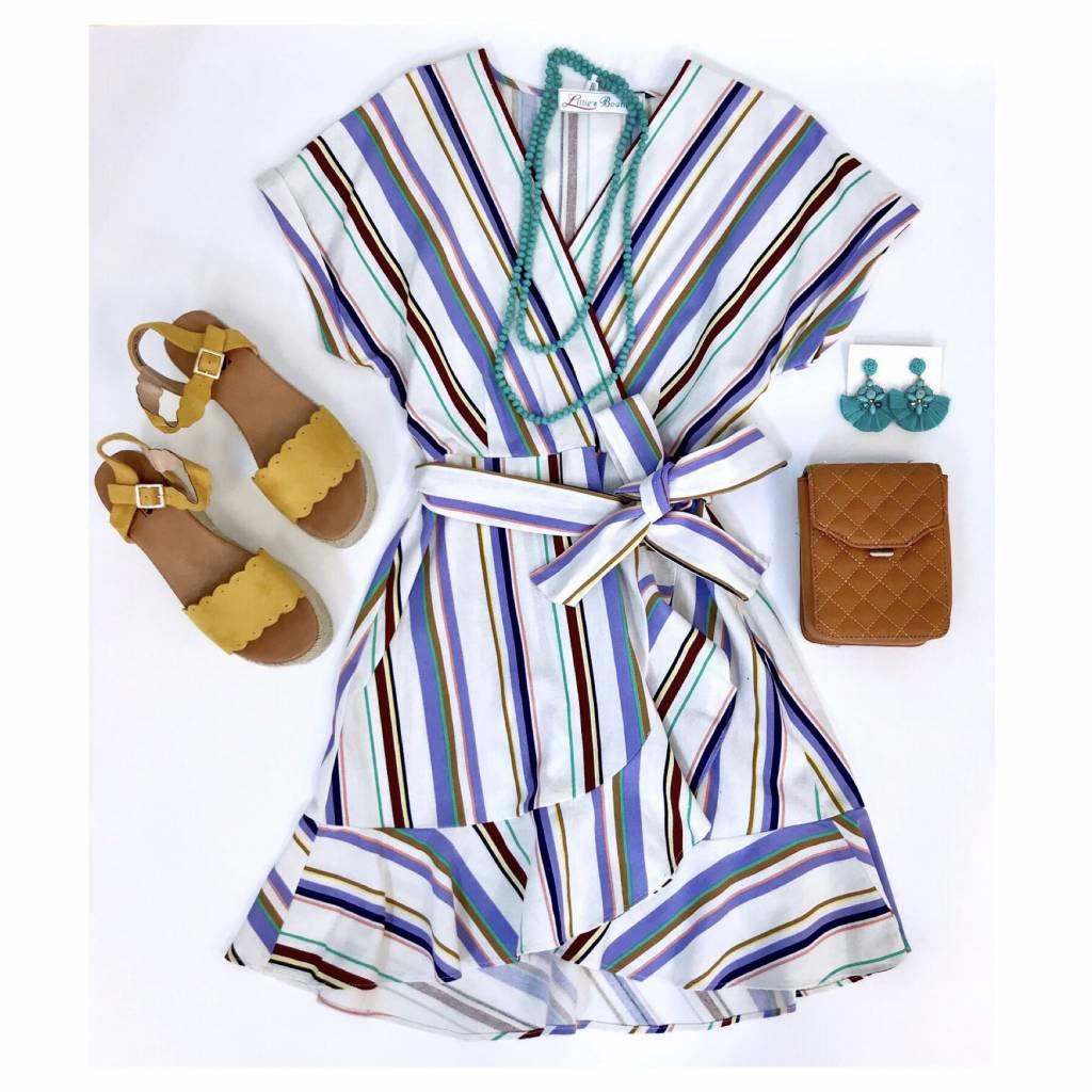 Short Sleeve Multi Striped Wrap Dress