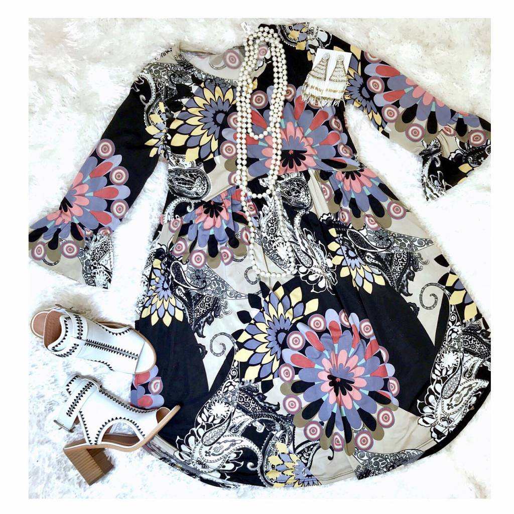 Black Ruffled Floral Print Tunic