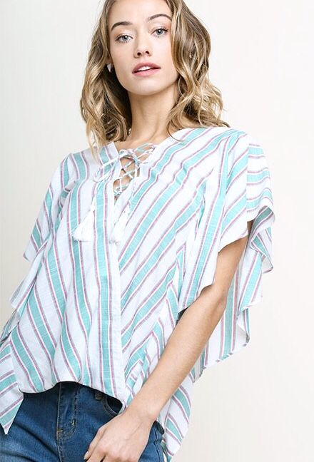 Faded Teal and Pink Striped Ruffle Sleeve Top