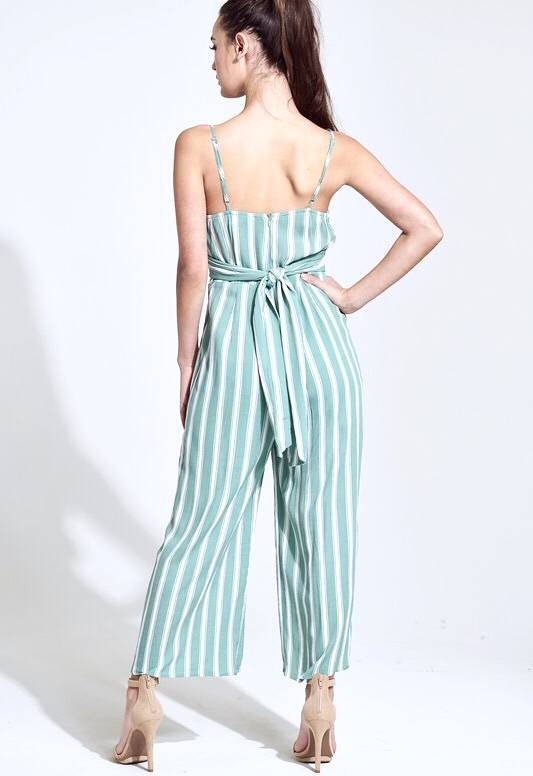 Sage Striped Front Tie Jumpsuit