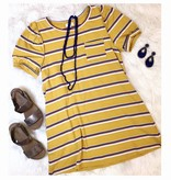 Goldenrod Striped Puff Sleeve Dress
