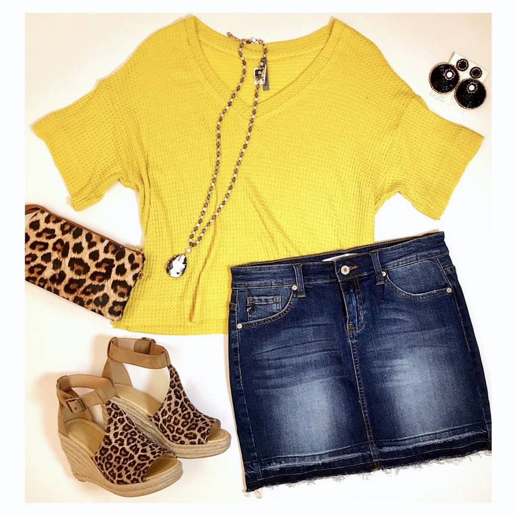 Sunflower Dropped Shoulder SS Top