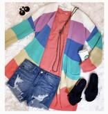 Sherbet Color Block Cardigan