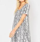 Grey Snake Print Pocket Dress
