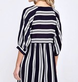 Navy 3/4 Sleeve Striped Babydoll Dress