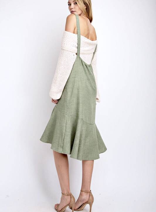 Sage Oversized Ruffle Hem Midi Dress