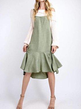 Sage Oversized Ruffle Hem Midi Dress