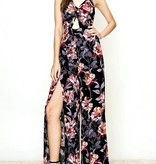 Black Floral Front Twist Open Back Jumpsuit
