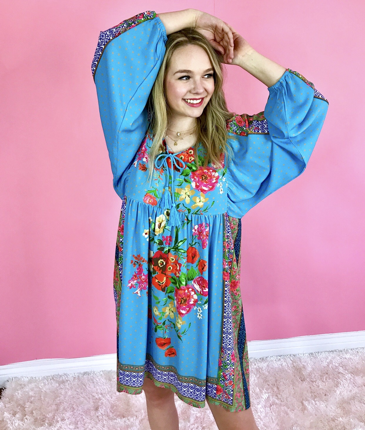 Blue Floral/Striped Mixed Balloon Sleeve Dress