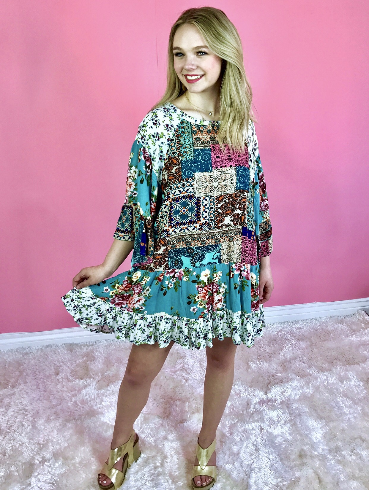 Teal Mixed Print Ruffle Tunic Dress