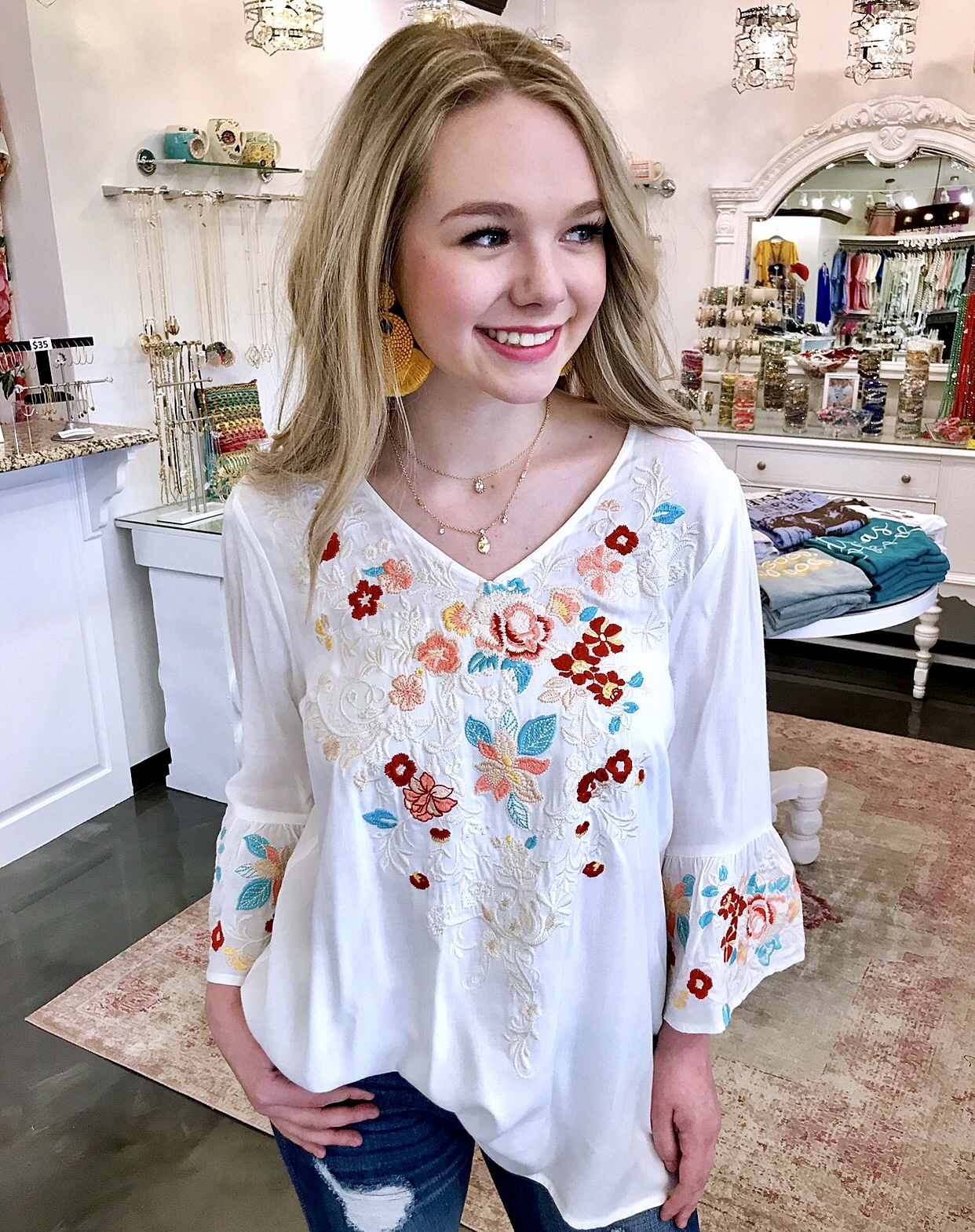 Ivory Embroidered Flowy Top with Bell Sleeve
