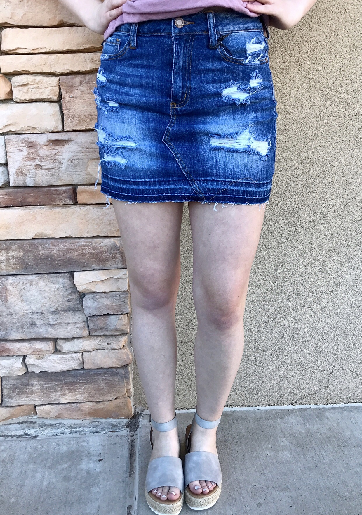 Judy Blue Medium Release Hem Destroy Skirt