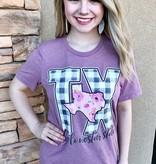 Mauve Lonestar State Buffalo check T-Shirt