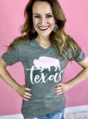Grey Texas 1845 Buffalo Check & Floral T-Shirt