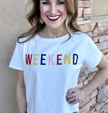 """White """"Weekend"""" Multi Color Graphic Tee"""