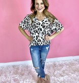 Ivory Leopard V-Neck Flowy Top