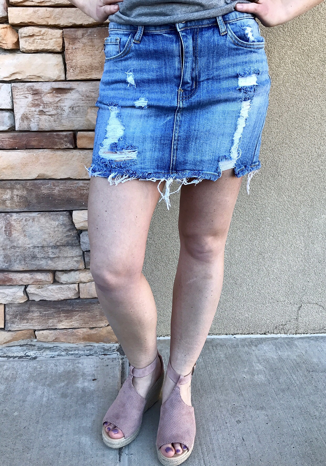 Judy Blue Light Wash Destroy Skirt