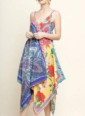 Mixed Print Scarf Spaghetti Strap Dress