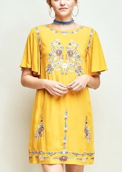Mustard Floral Embroidered Shift Dress