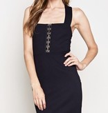 Black X Cross Back Fitted Dress