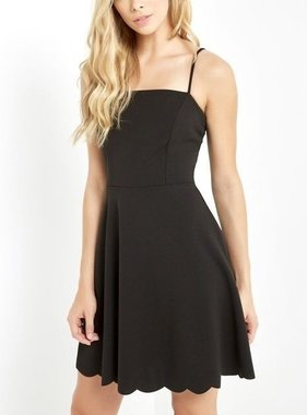 Destiny Scalloped Dress Black