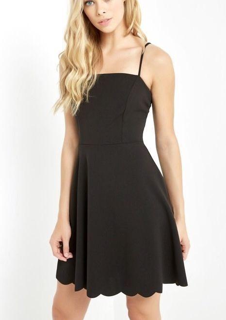 Destiny Scalloped Dress Black