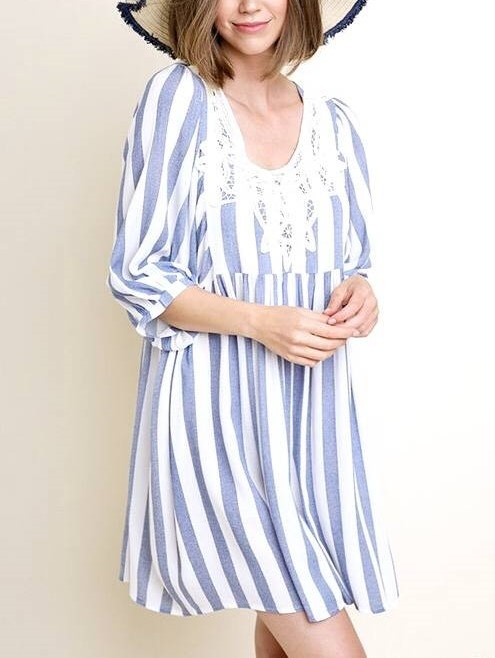 Blue Striped Dress with Lace Detail