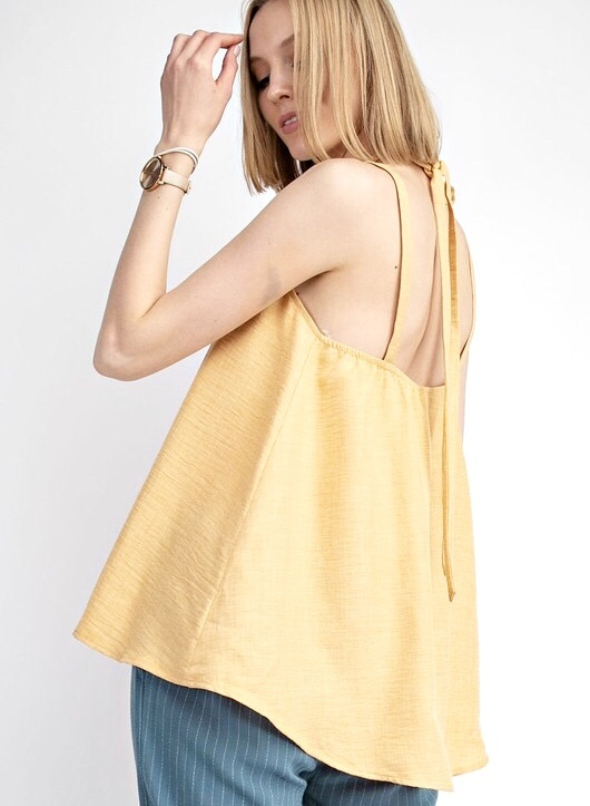 Mango Washed Linen Halter Top