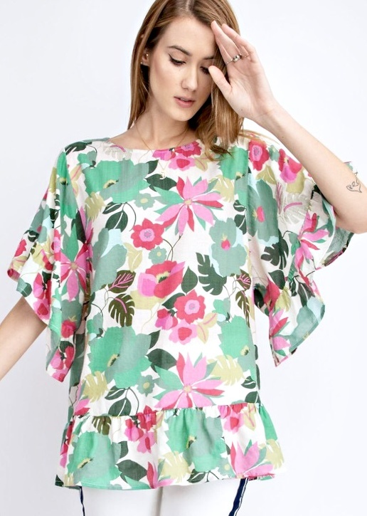 Rose Floral Ruffle Top