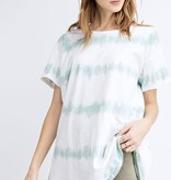 Faded Sage Oversized SS Striped Tie Dye Top