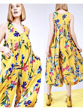 a5e1df334716 Mustard Floral Sleeveless Flowy Jumpsuit