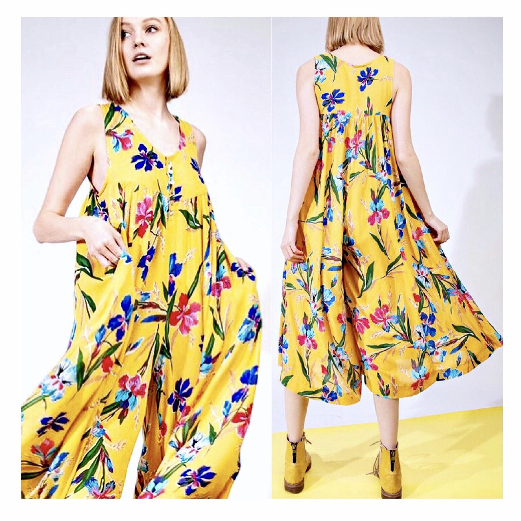 Mustard Floral Sleeveless Flowy Jumpsuit
