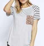 Short Sleeve Stripe & Leopard Contrast Top Grey