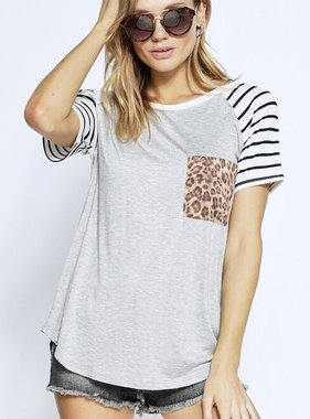 Short Sleeve Stripe & Leopard Contrast Top Grey