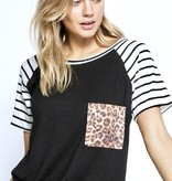 Short Sleeve Stripe & Leopard Contrast Top Black