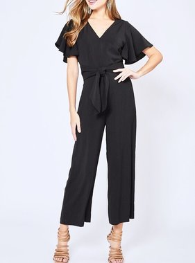 2ad81c9fc2b0 Black Short Sleeve Jumpsuit with Tie Front