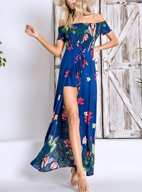 Navy Floral Lace Up Maxi Romper